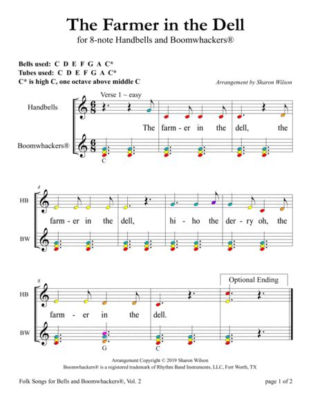The Farmer In The Dell For 8 Note Bells And Boomwhackers With Color Coded Notes  music sheet