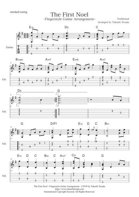 The First Noel Fingerstyle Guitar Arrangement  music sheet