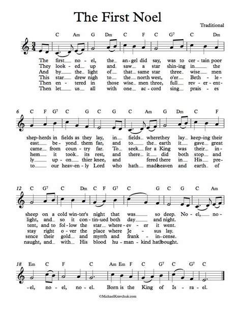 the first noel lead sheet in c major music sheet