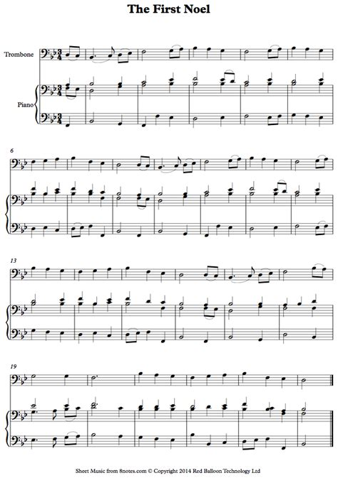 The First Noel Trombone  music sheet