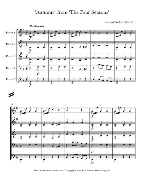 The Four Seasons Allegro From Autumn Score  music sheet