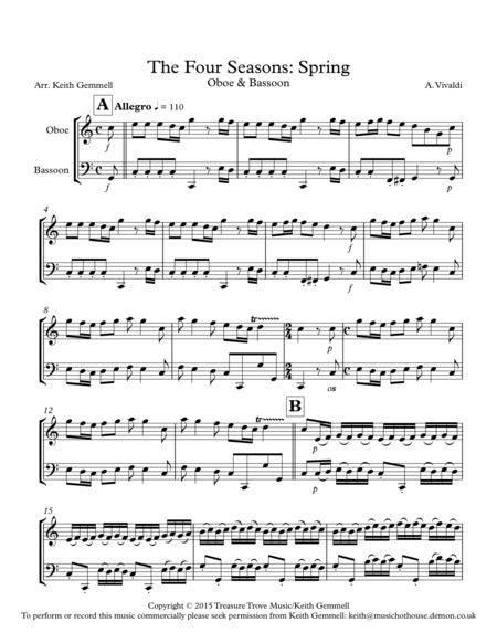 the four seasons spring oboe bassoon music sheet