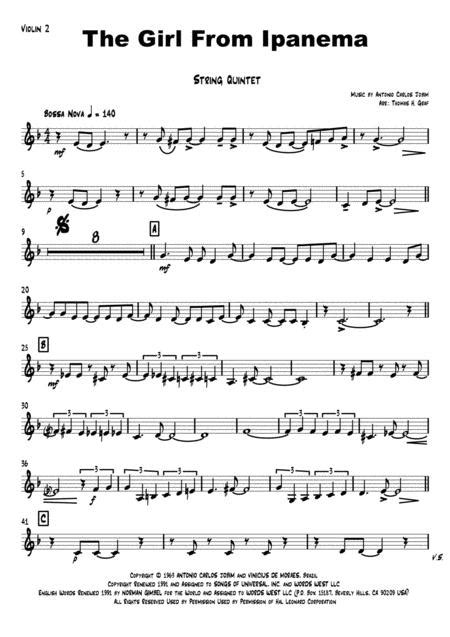 The Girl From Ipanema Brass Quintet  music sheet