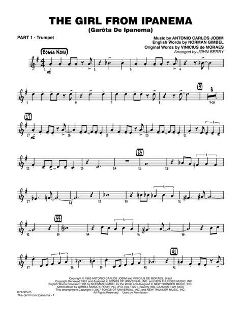 The Girl From Ipanema For Bb Trumpet C Trombone Piano  music sheet