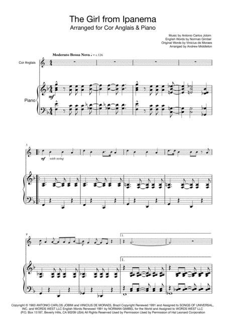 The Girl From Ipanema For Cor Anglais And Piano  music sheet