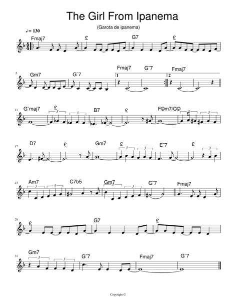 The Girl From Ipanema For Oboe And Piano  music sheet