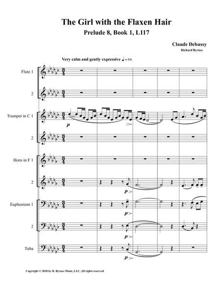 The Girl With The Flaxen Hair Prelude 8 Book 1 By Claude Debussy Clarinet Septet 2 Flutes  music sheet