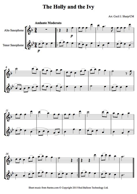 The Holly And The Ivy Duet For Alto And Tenor Saxophones  music sheet