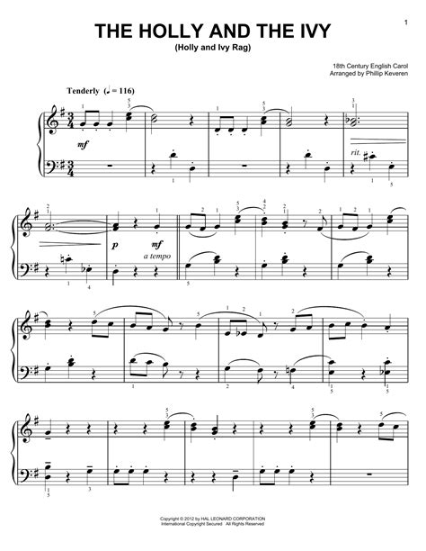 The Holly And The Ivy For Alto Saxophone And Piano  music sheet