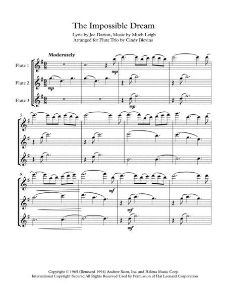 The Impossible Dream Arranged For Flute Trio  music sheet