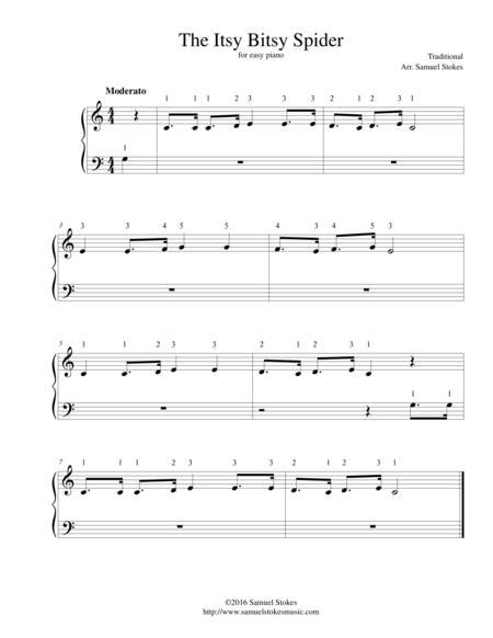 The Itsy Bitsy Spider For Very Easy Piano  music sheet