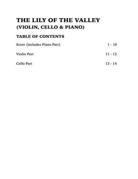 The Lily Of The Valley Heliotrope Bouquet Trio For Flute Cello And Piano music sheet
