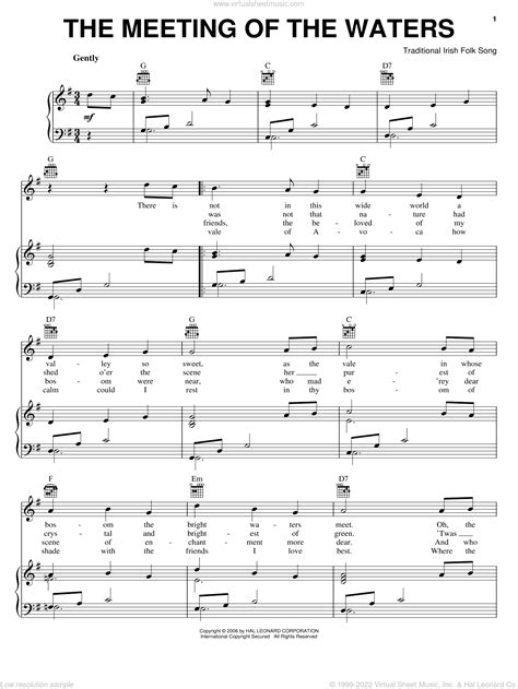 The Meeting Of The Waters Alto Voice Guitar  music sheet