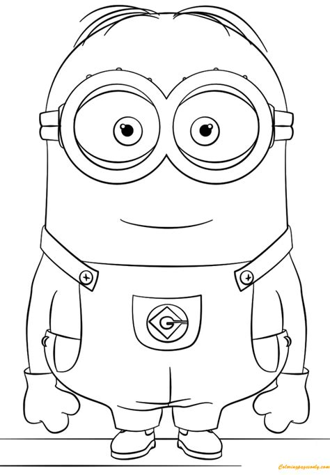 the minions dave coloring page for kids Free Printable