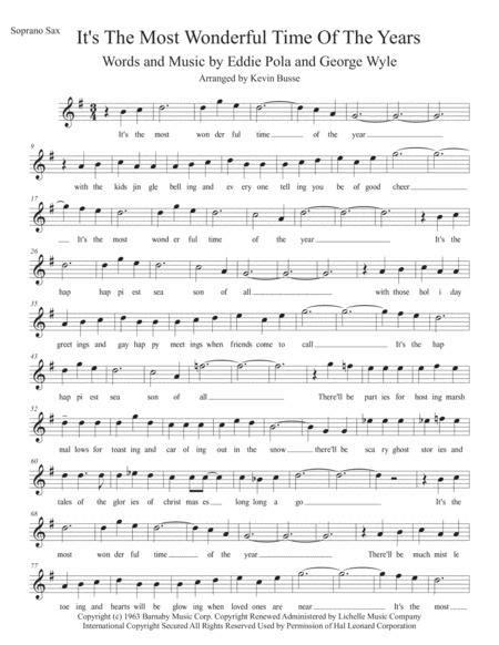 The Most Wonderful Time Of The Year W Lyrics Bari Sax  music sheet