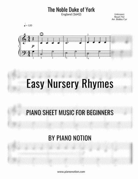 The Noble Duke Of York Easy Piano Solo  music sheet