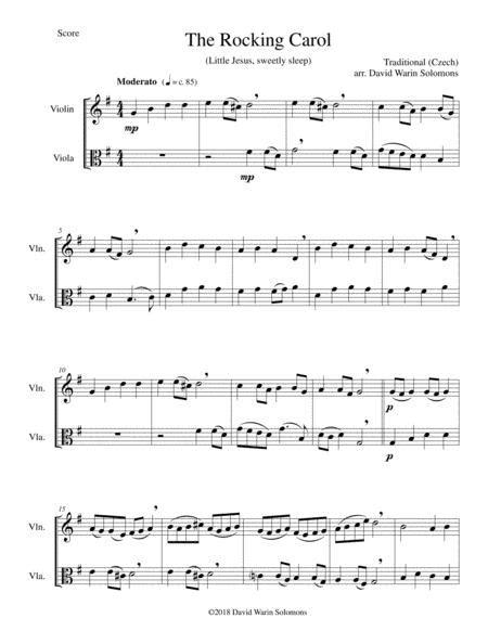 The Rocking Carol Little Jesus Sweetly Sleep For Violin And Viola  music sheet
