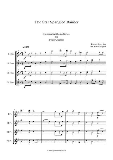 The Star Spangled Banner Flute Quartet Arr Adrian Wagner  music sheet