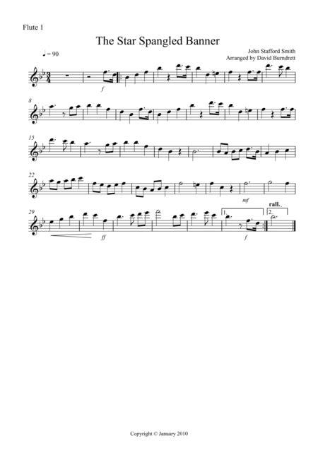 The Star Spangled Banner Flute Quartet B Fl Arr Adrian Wagner  music sheet