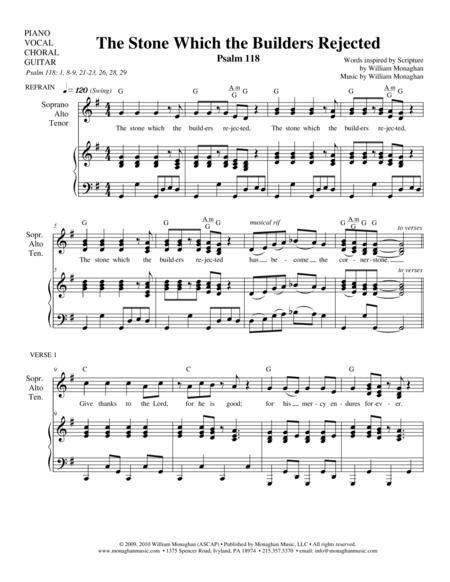 The Stone Which The Builders Rejected Psalm 118 music sheet