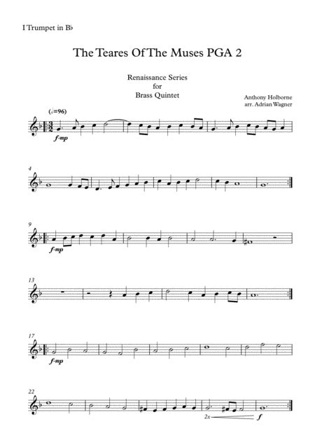 The Teares Of The Muses Pga 2 Anthony Holborne Brass Quintet Arr Adrian Wagner  music sheet