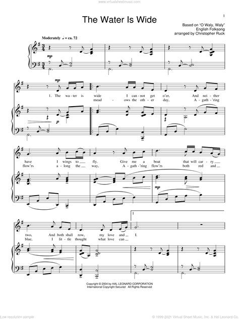 The Water Is Wide Piano Accompaniment For Flute Alto Sax  music sheet