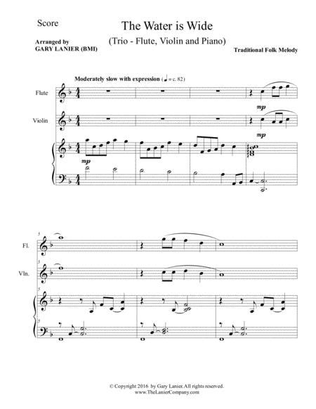 The Water Is Wide Trio Flute Cello Piano With Parts  music sheet