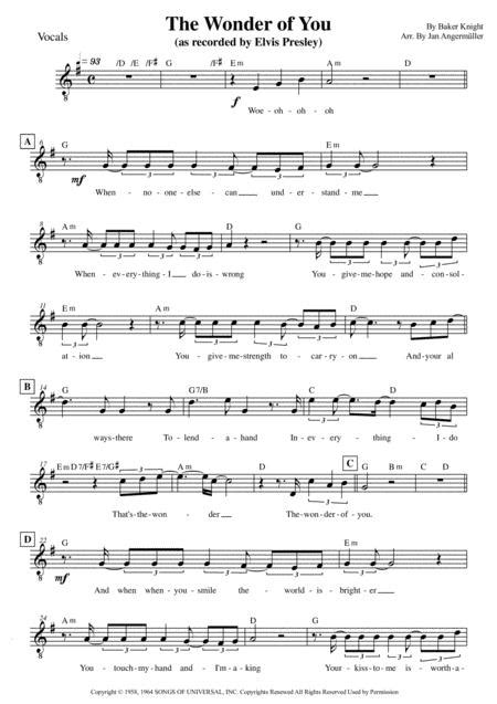 The Wonder Of You Elvis Presley Electric Bass Part  music sheet