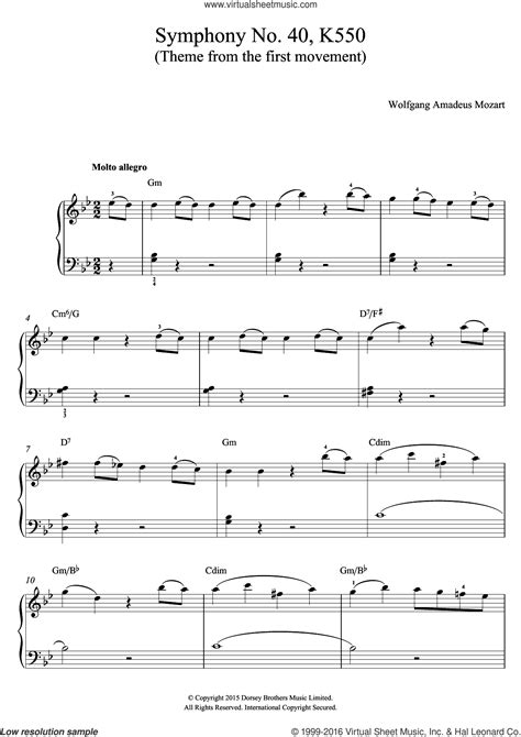 Theme From Symphony No 40 For Guitar And Piano  music sheet