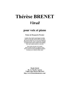 Therese Brenet Vitrail For Medium Voice And Piano  music sheet