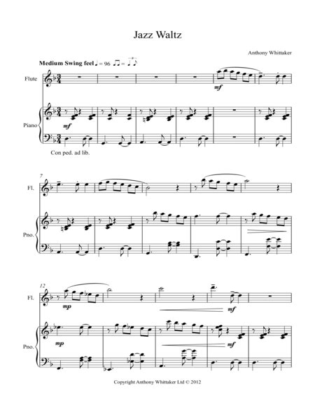 Three Jazz Waltzes For Solo Piano  music sheet