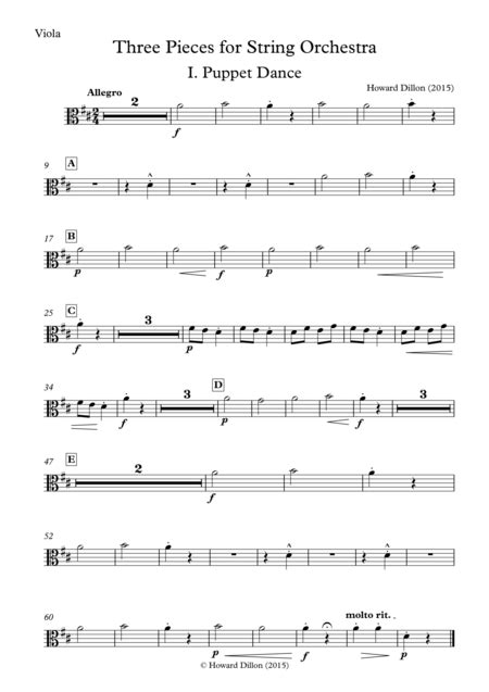 Three Pieces For String Orchestra Viola  music sheet