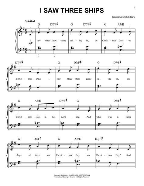 Three Ships  music sheet