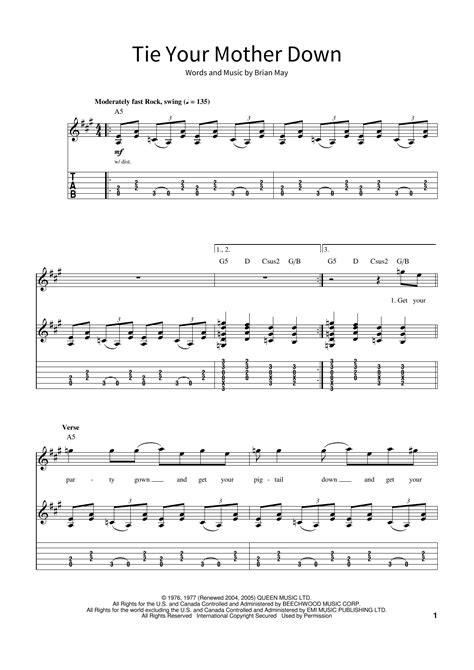Tie Your Mother Down  music sheet