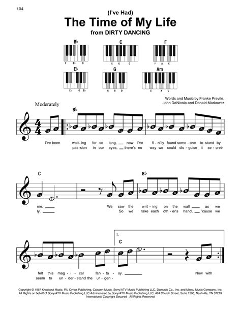 Time Of My Life  music sheet