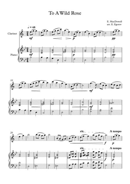 To A Wild Rose Edward Macdowell For Clarinet Piano  music sheet