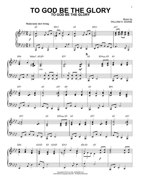 To The Glory Of God Piano Solo  music sheet