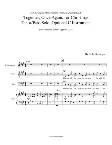 Together Once Again For Christmas Tenor Bass Solo Piano Acc Optional C Instrument  music sheet