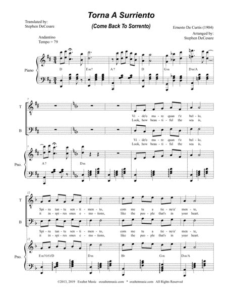 Torna A Surriento Come Back To Sorrento For Satb  music sheet