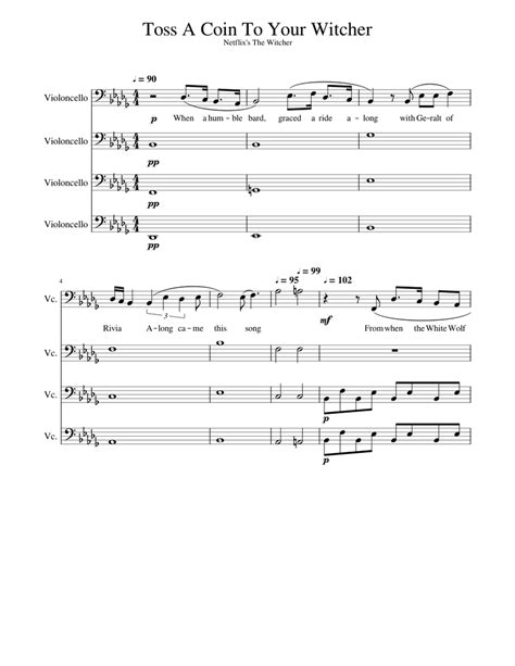 Toss A Coin To Your Witcher For Cello Quartet  music sheet