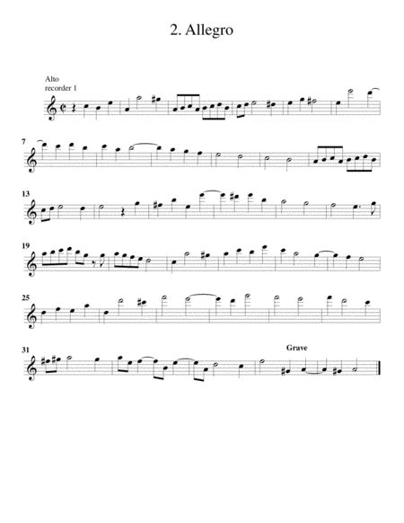 Trio Sonata Op 2 No 1 Arrangement For 3 Recorders  music sheet
