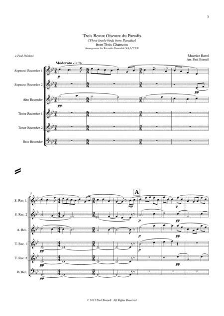 Trois Beaux Oiseaux Du Paradis And Ronde  music sheet