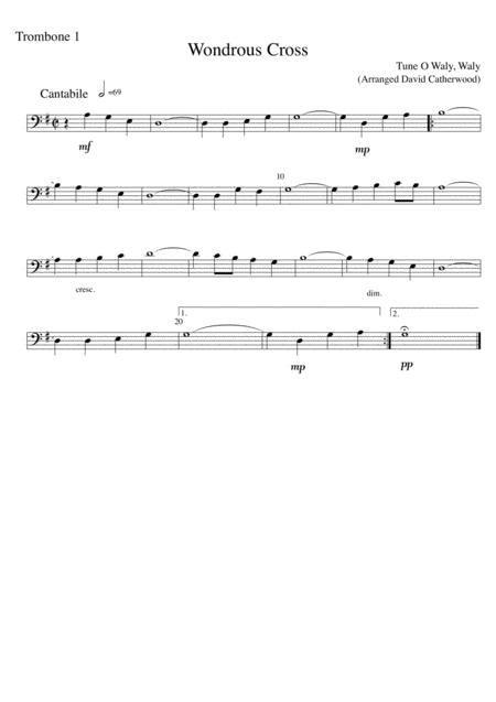 trombone trio wondrous cross tune o waly waly arranged by david catherwood music sheet