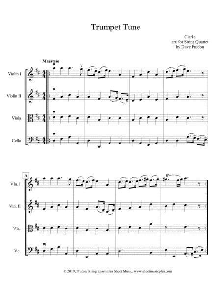 Trumpet Tune For String Quartet  music sheet