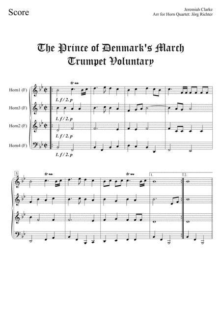 Trumpet Voluntary Prince Of Denmarks March For Solo Horn In F And Piano  music sheet
