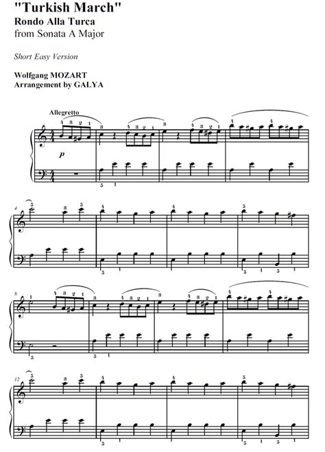 Turkish March Mozart Easiest Piano Version  music sheet
