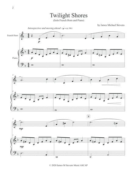 Twilight Shores French Horn Piano  music sheet