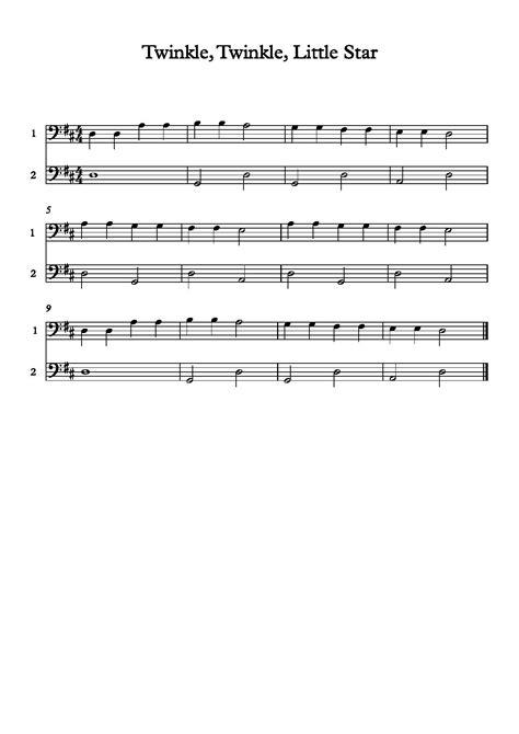 Twinkle Twinkle Little Star Cello  music sheet