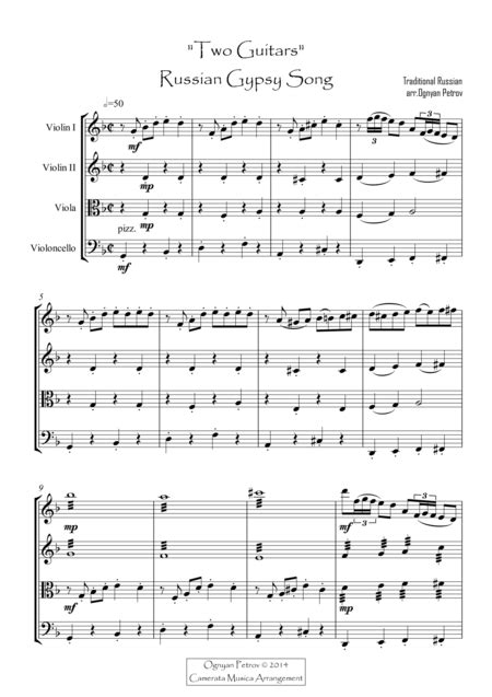 Two Guitars Russian Gypsy Traditional Song  music sheet