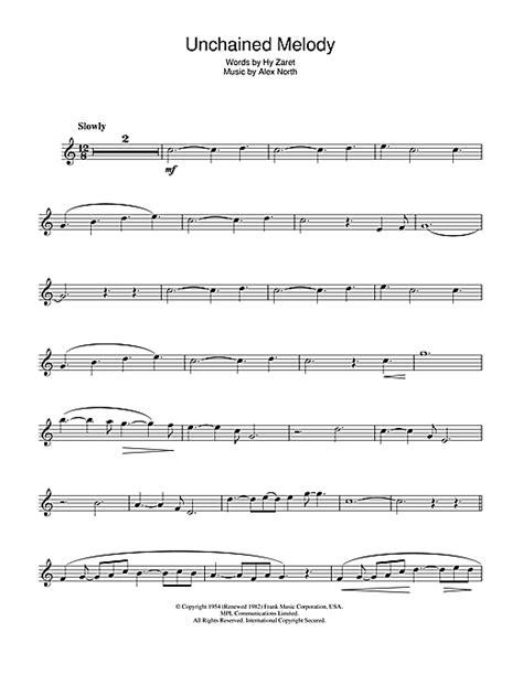 Unchained Melody Tenor Or Soprano Saxophone Concert Key music sheet